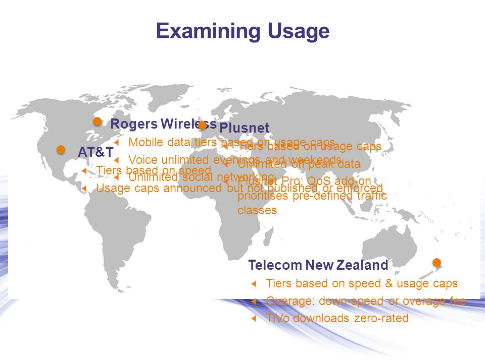 Examining Usage Rogers Wireless Mobile data tiers based on usage caps Voice unlimited evenings and weekends Unlimited social networking AT&T Tiers bas