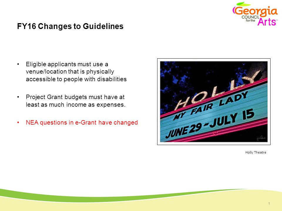1 FY16 Changes to Guidelines Eligible applicants must use a venue/location that is physically accessible to people with disabilities Project Grant budgets must have at least as much income as expenses.