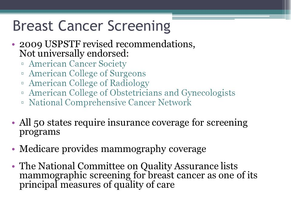 Breast Cancer Screening 2009 USPSTF revised recommendations, Not universally endorsed: ▫American Cancer Society ▫American College of Surgeons ▫American College of Radiology ▫American College of Obstetricians and Gynecologists ▫National Comprehensive Cancer Network All 50 states require insurance coverage for screening programs Medicare provides mammography coverage The National Committee on Quality Assurance lists mammographic screening for breast cancer as one of its principal measures of quality of care