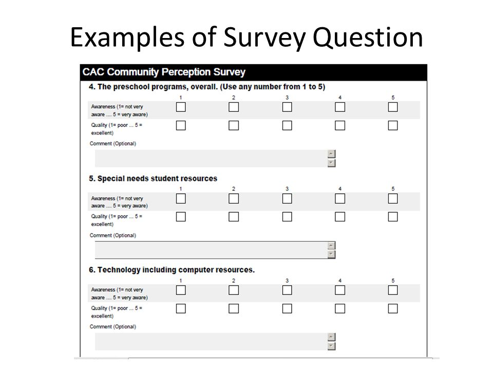 Examples of Survey Question