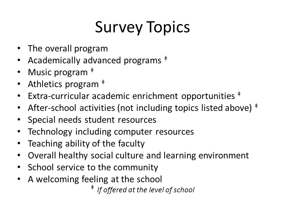 Survey Topics The overall program Academically advanced programs ‡ Music program ‡ Athletics program ‡ Extra-curricular academic enrichment opportunit