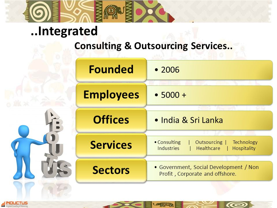 2006 Founded Employees India & Sri Lanka Offices Consulting | Outsourcing | Technology Industries | Healthcare | Hospitality Services Government, Social Development / Non Profit, Corporate and offshore.