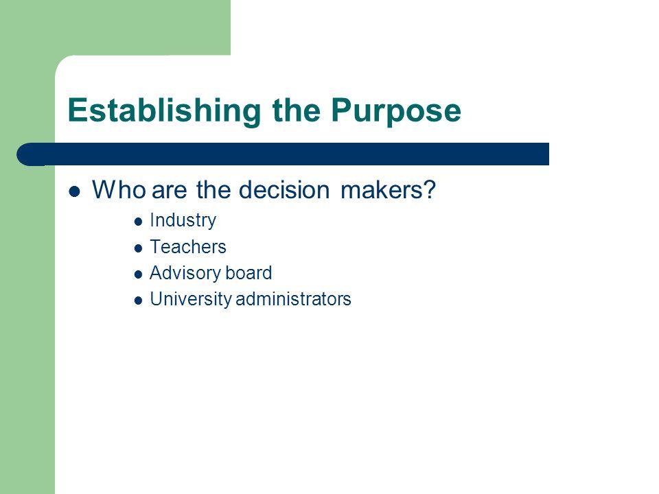 Establishing the Purpose Who are the decision makers? Industry Teachers Advisory board University administrators