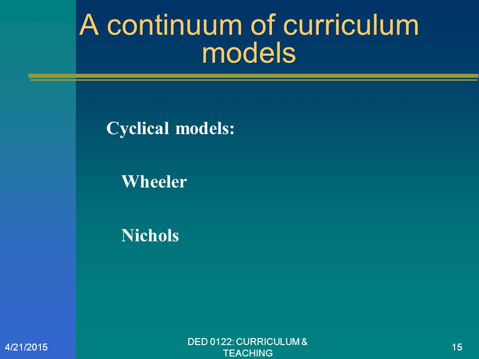 A continuum of curriculum models Cyclical models: Wheeler Nichols 4/21/201515 DED 0122: CURRICULUM & TEACHING