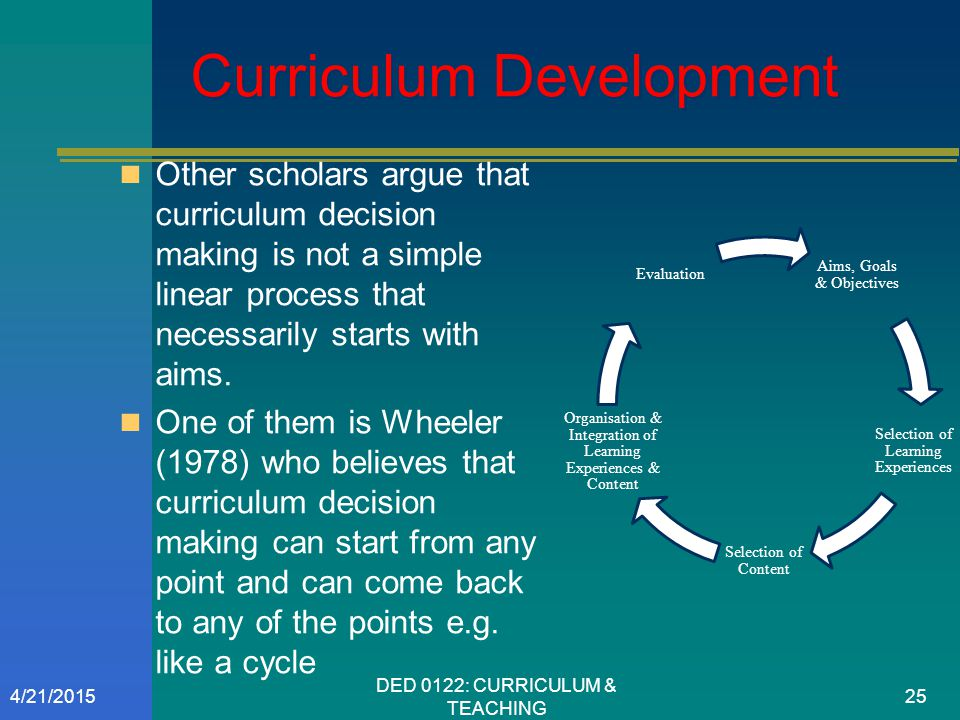 Curriculum Development Other scholars argue that curriculum decision making is not a simple linear process that necessarily starts with aims. One of t