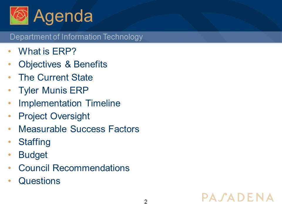 Department of Information Technology Agenda What is ERP.