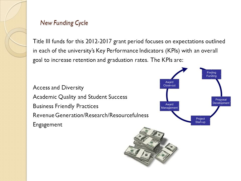 New Funding Cycle Title III funds for this 2012-2017 grant period focuses on expectations outlined in each of the university's Key Performance Indicat