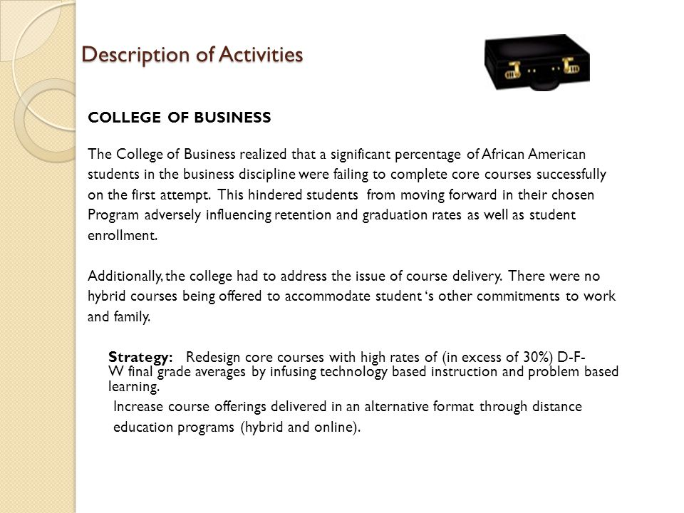Description of Activities COLLEGE OF BUSINESS The College of Business realized that a significant percentage of African American students in the busin