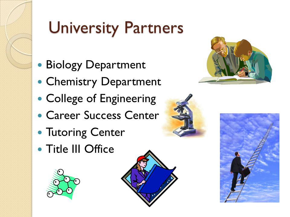 University Partners Biology Department Chemistry Department College of Engineering Career Success Center Tutoring Center Title III Office