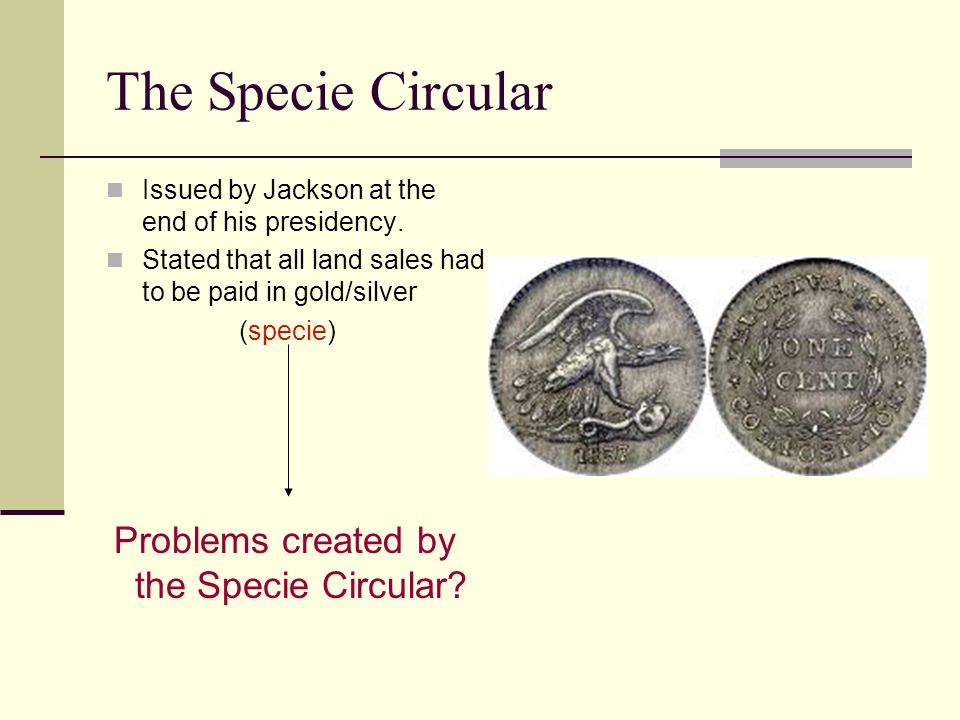 The Specie Circular Issued by Jackson at the end of his presidency.
