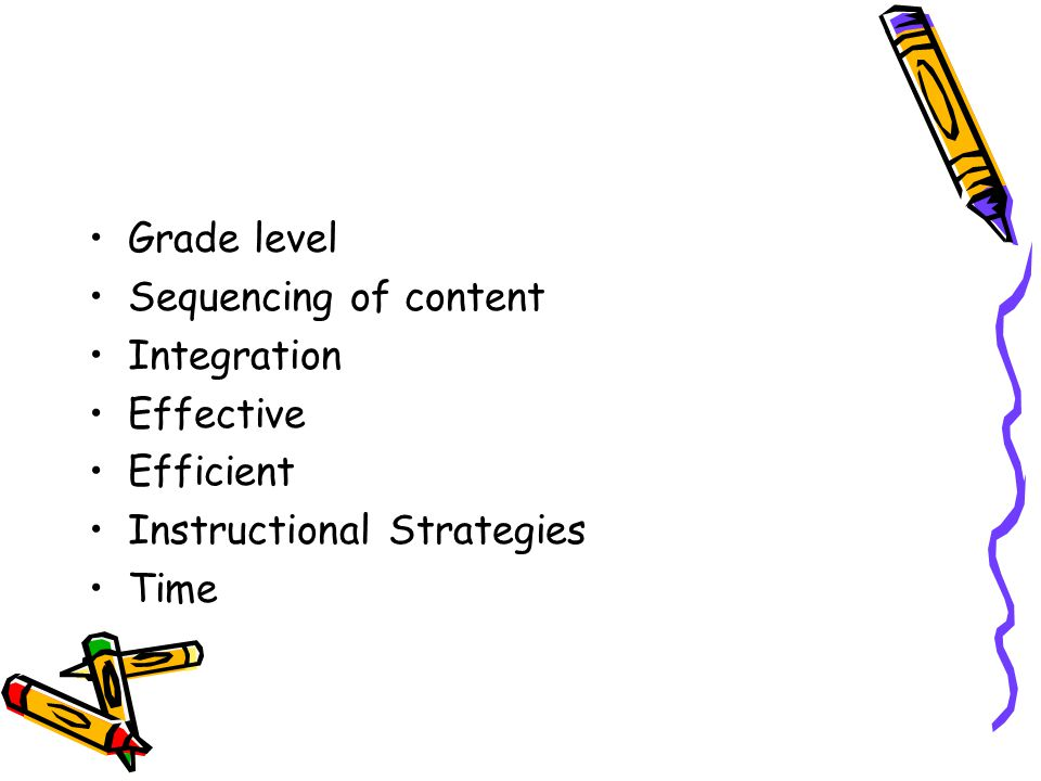 Grade level Sequencing of content Integration Effective Efficient Instructional Strategies Time