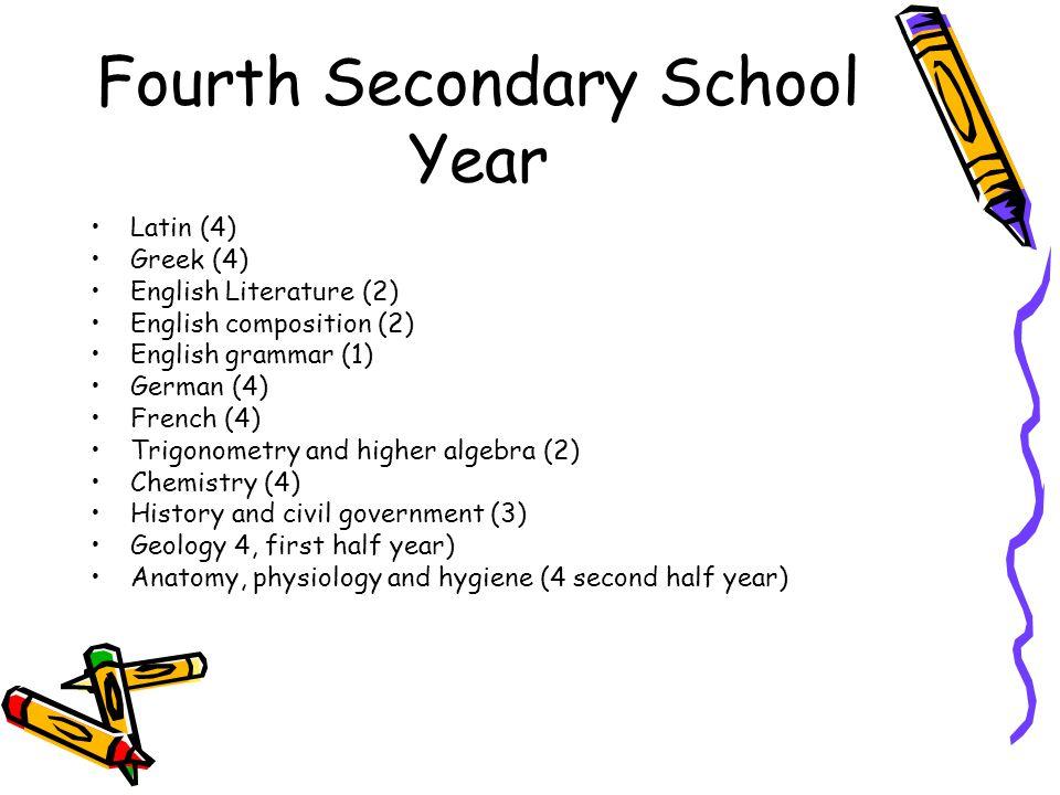 Fourth Secondary School Year Latin (4) Greek (4) English Literature (2) English composition (2) English grammar (1) German (4) French (4) Trigonometry