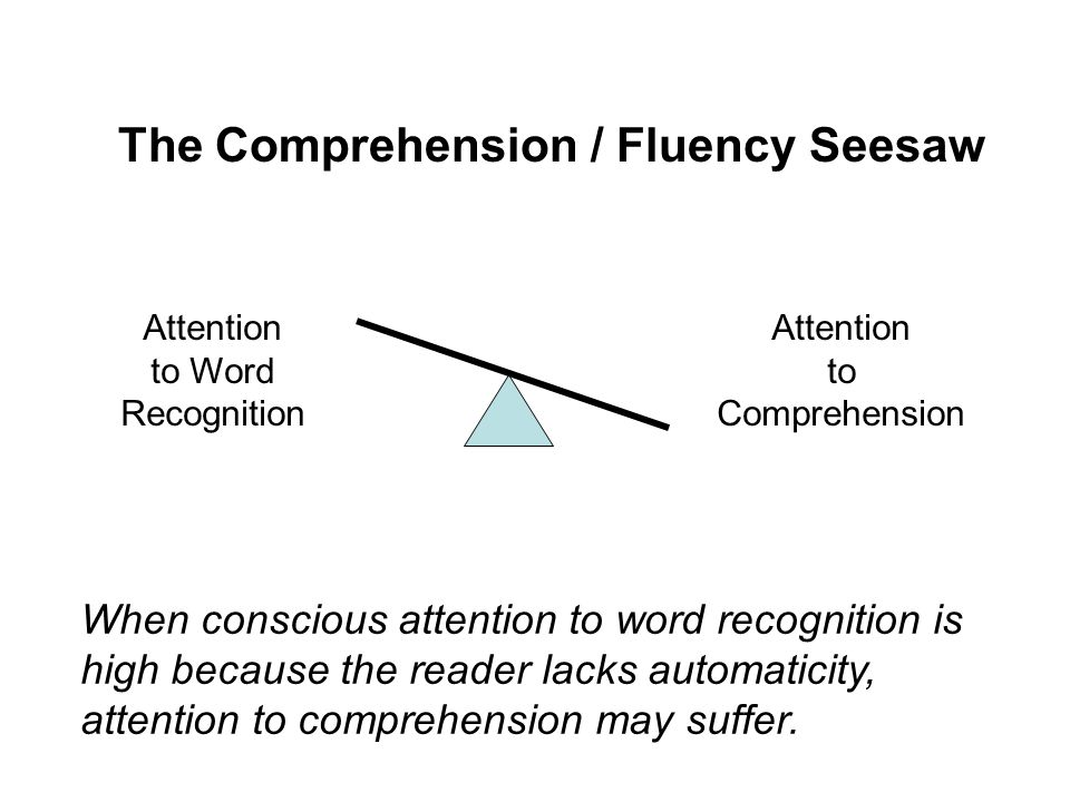 Attention to Word Recognition Attention to Comprehension The Comprehension / Fluency Seesaw When conscious attention to word recognition is low because most words are recognized automatically, more attention can be devoted to comprehension.