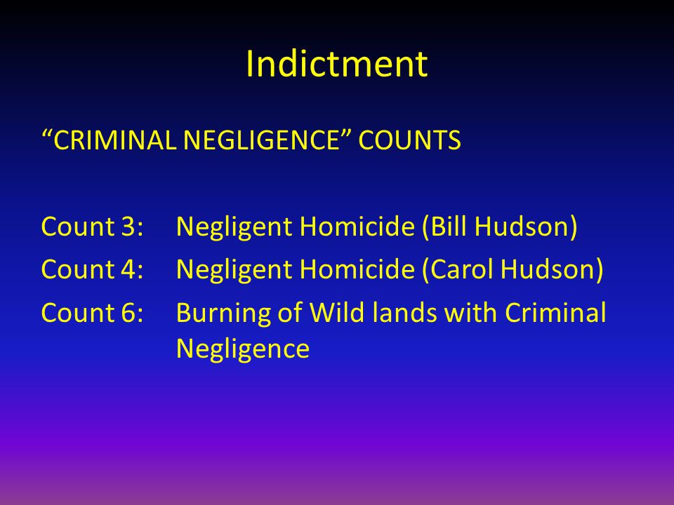 Indictment CRIMINAL NEGLIGENCE COUNTS Count 3:Negligent Homicide (Bill Hudson) Count 4:Negligent Homicide (Carol Hudson) Count 6: Burning of Wild lands with Criminal Negligence