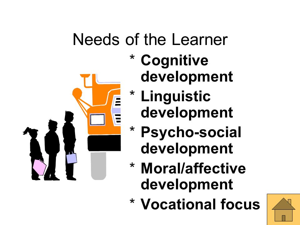 Needs of the Learner *Cognitive development *Linguistic development *Psycho-social development *Moral/affective development *Vocational focus