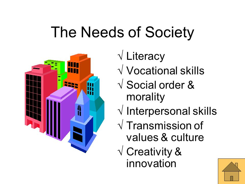 The Needs of Society  Literacy  Vocational skills  Social order & morality  Interpersonal skills  Transmission of values & culture  Creativity &