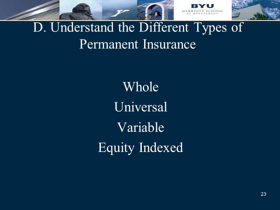 23 D. Understand the Different Types of Permanent Insurance Whole Universal Variable Equity Indexed