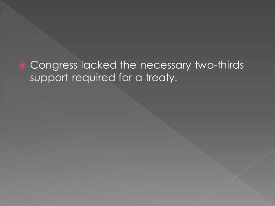  Congress lacked the necessary two-thirds support required for a treaty.