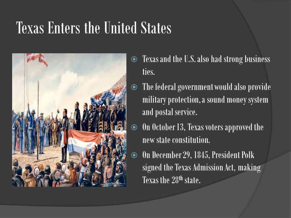 Texas Enters the United States  Texas and the U.S.