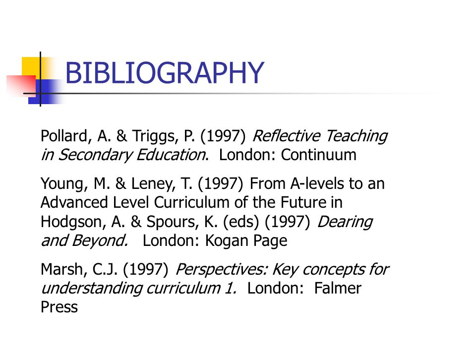 BIBLIOGRAPHY Pollard, A. & Triggs, P. (1997) Reflective Teaching in Secondary Education. London: Continuum Young, M. & Leney, T. (1997) From A-levels