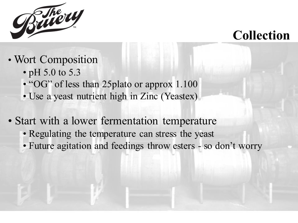 Collection Wort Composition pH 5.0 to 5.3 OG of less than 25plato or approx 1.100 Use a yeast nutrient high in Zinc (Yeastex) Start with a lower fermentation temperature Regulating the temperature can stress the yeast Future agitation and feedings throw esters - so don't worry