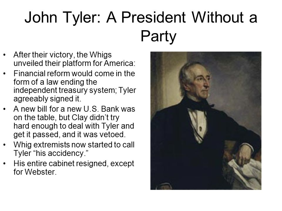John Tyler: A President Without a Party Also, Tyler vetoed a proposed Whig tariff.