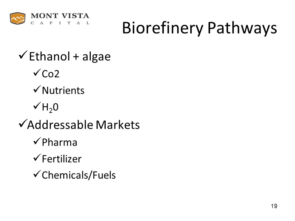 Biorefinery Pathways Ethanol + algae Co2 Nutrients H 2 0 Addressable Markets Pharma Fertilizer Chemicals/Fuels 19