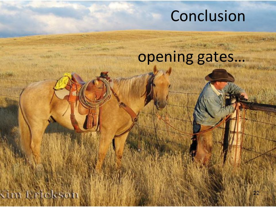 Conclusion opening gates… 22