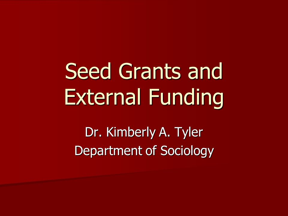 Seed Grants and External Funding Dr. Kimberly A. Tyler Department of Sociology