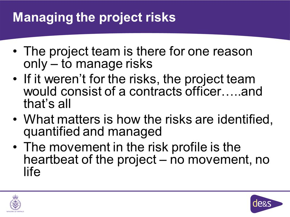 Managing the project risks The project team is there for one reason only – to manage risks If it weren't for the risks, the project team would consist of a contracts officer…..and that's all What matters is how the risks are identified, quantified and managed The movement in the risk profile is the heartbeat of the project – no movement, no life