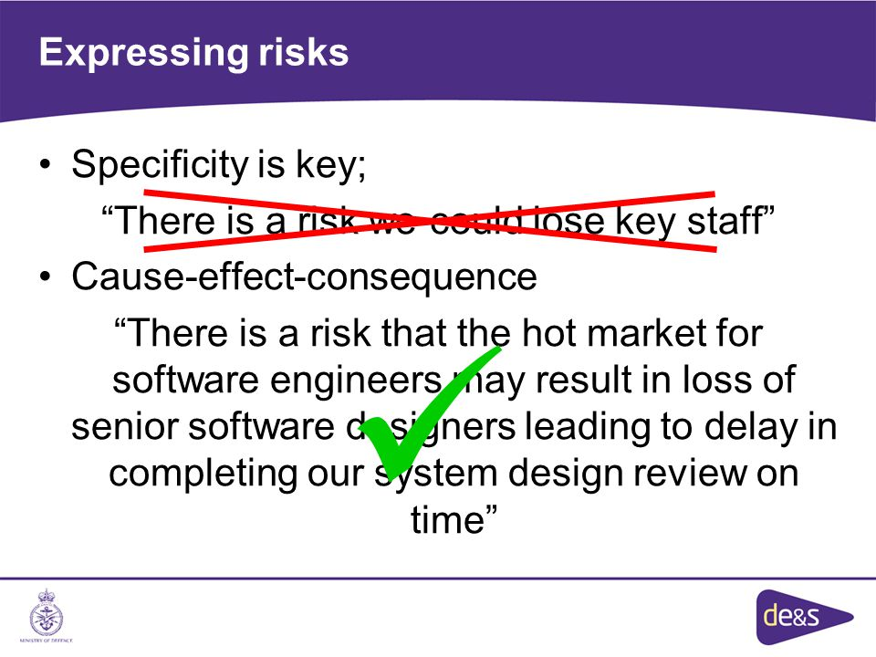 Expressing risks Specificity is key; There is a risk we could lose key staff Cause-effect-consequence There is a risk that the hot market for software engineers may result in loss of senior software designers leading to delay in completing our system design review on time