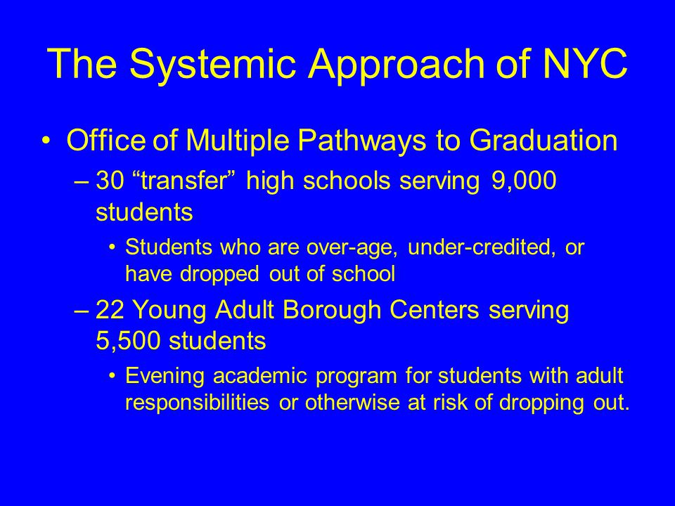 """The Systemic Approach of NYC Office of Multiple Pathways to Graduation –30 """"transfer"""" high schools serving 9,000 students Students who are over-age, u"""