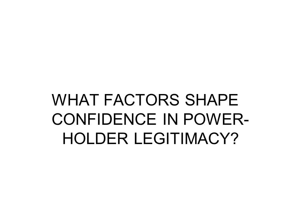 WHAT FACTORS SHAPE CONFIDENCE IN POWER- HOLDER LEGITIMACY