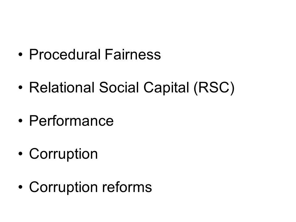 Procedural Fairness Relational Social Capital (RSC) Performance Corruption Corruption reforms