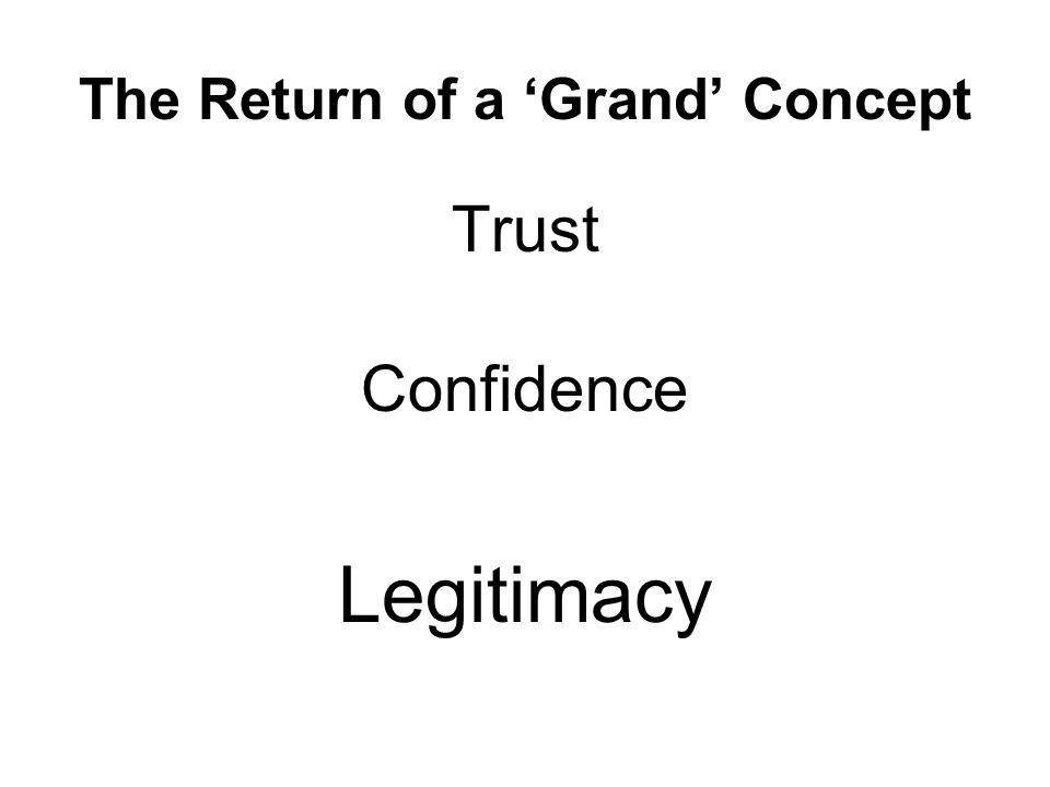The Return of a 'Grand' Concept Trust Confidence Legitimacy