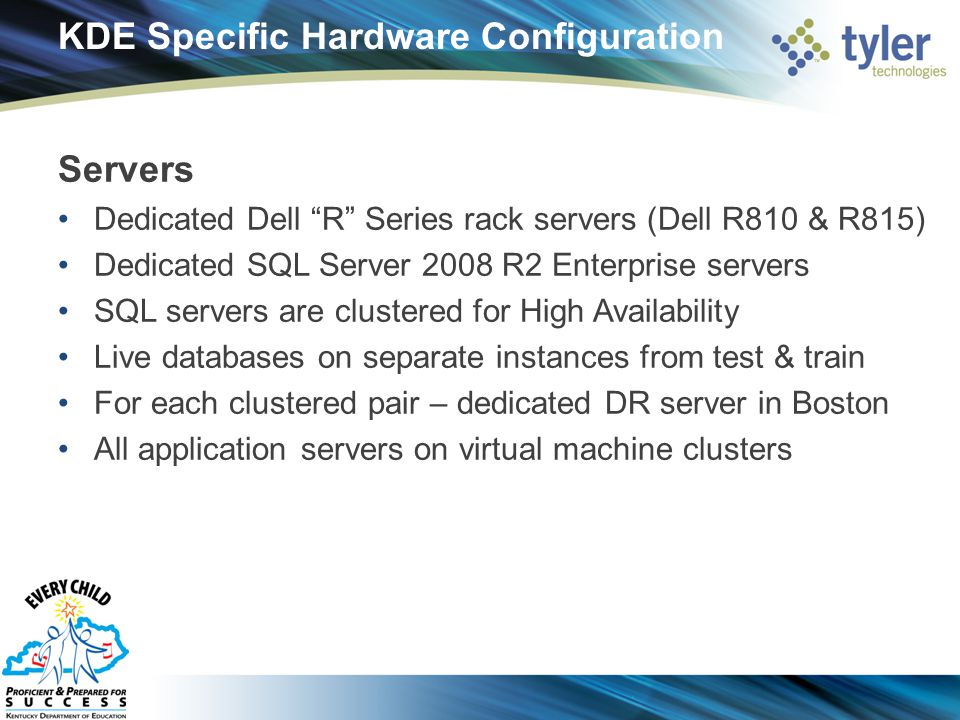 KDE Specific Hardware Configuration Servers Dedicated Dell R Series rack servers (Dell R810 & R815) Dedicated SQL Server 2008 R2 Enterprise servers SQL servers are clustered for High Availability Live databases on separate instances from test & train For each clustered pair – dedicated DR server in Boston All application servers on virtual machine clusters
