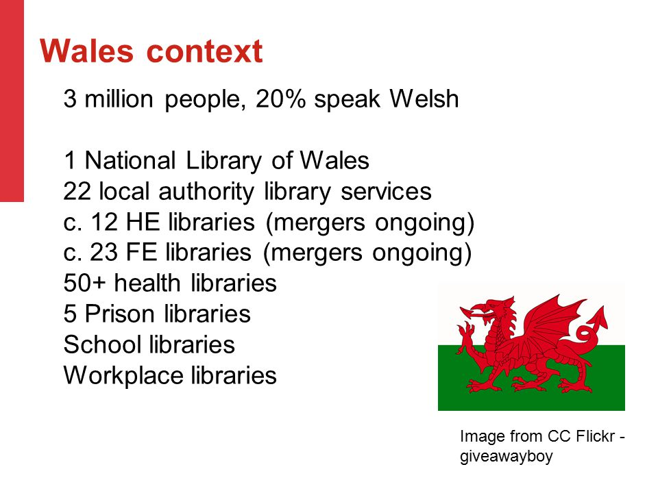 Wales context 3 million people, 20% speak Welsh 1 National Library of Wales 22 local authority library services c. 12 HE libraries (mergers ongoing) c