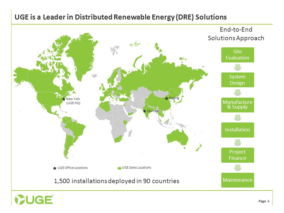Page 4 UGE is a Leader in Distributed Renewable Energy (DRE) Solutions 1,500 installations deployed in 90 countries New York (UGE HQ) Beijing Mumbai UGE Office Locations UGE Sales Locations Site Evaluation System Design Manufacture & Supply Installation Project Finance Maintenance End-to-End Solutions Approach