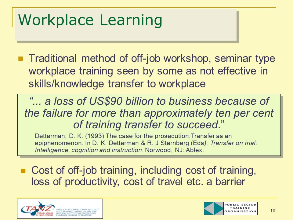 10 Traditional method of off-job workshop, seminar type workplace training seen by some as not effective in skills/knowledge transfer to workplace Workplace Learning ...