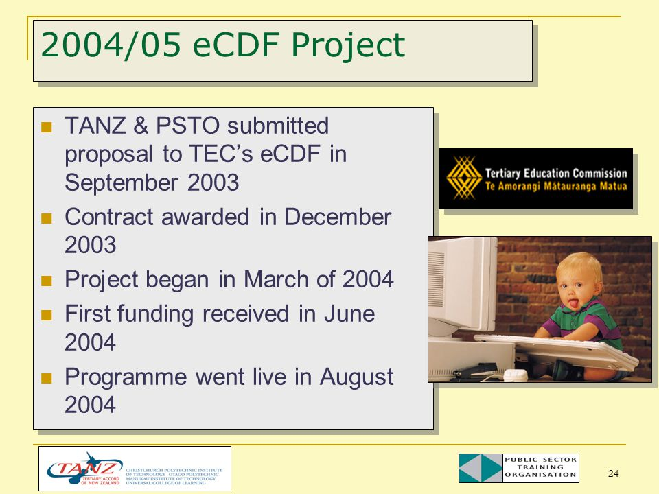 24 2004/05 eCDF Project TANZ & PSTO submitted proposal to TEC's eCDF in September 2003 Contract awarded in December 2003 Project began in March of 2004 First funding received in June 2004 Programme went live in August 2004 TANZ & PSTO submitted proposal to TEC's eCDF in September 2003 Contract awarded in December 2003 Project began in March of 2004 First funding received in June 2004 Programme went live in August 2004