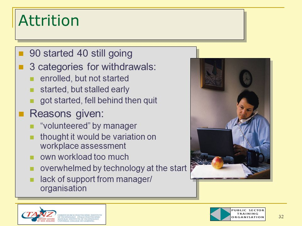 32 Attrition 90 started 40 still going 3 categories for withdrawals: enrolled, but not started started, but stalled early got started, fell behind then quit Reasons given: volunteered by manager thought it would be variation on workplace assessment own workload too much overwhelmed by technology at the start lack of support from manager/ organisation 90 started 40 still going 3 categories for withdrawals: enrolled, but not started started, but stalled early got started, fell behind then quit Reasons given: volunteered by manager thought it would be variation on workplace assessment own workload too much overwhelmed by technology at the start lack of support from manager/ organisation