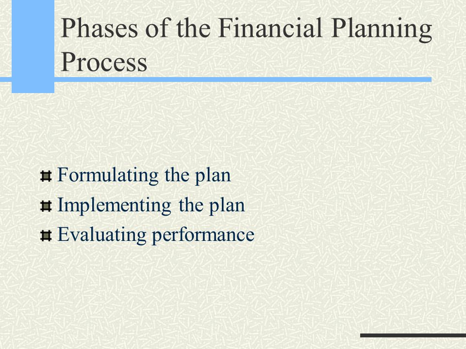 Phases of the Financial Planning Process Formulating the plan Implementing the plan Evaluating performance