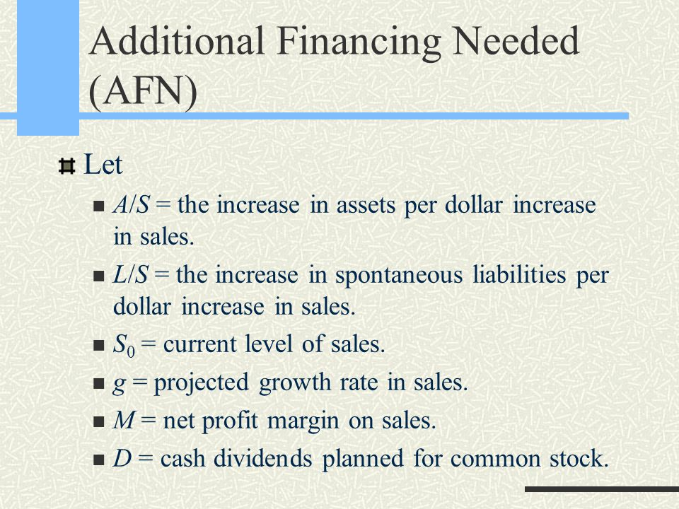 Additional Financing Needed (AFN) Let A/S = the increase in assets per dollar increase in sales. L/S = the increase in spontaneous liabilities per dol