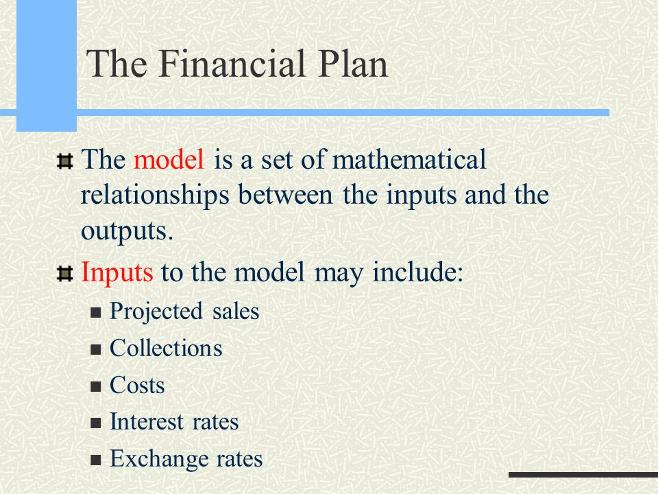 The Financial Plan The model is a set of mathematical relationships between the inputs and the outputs.