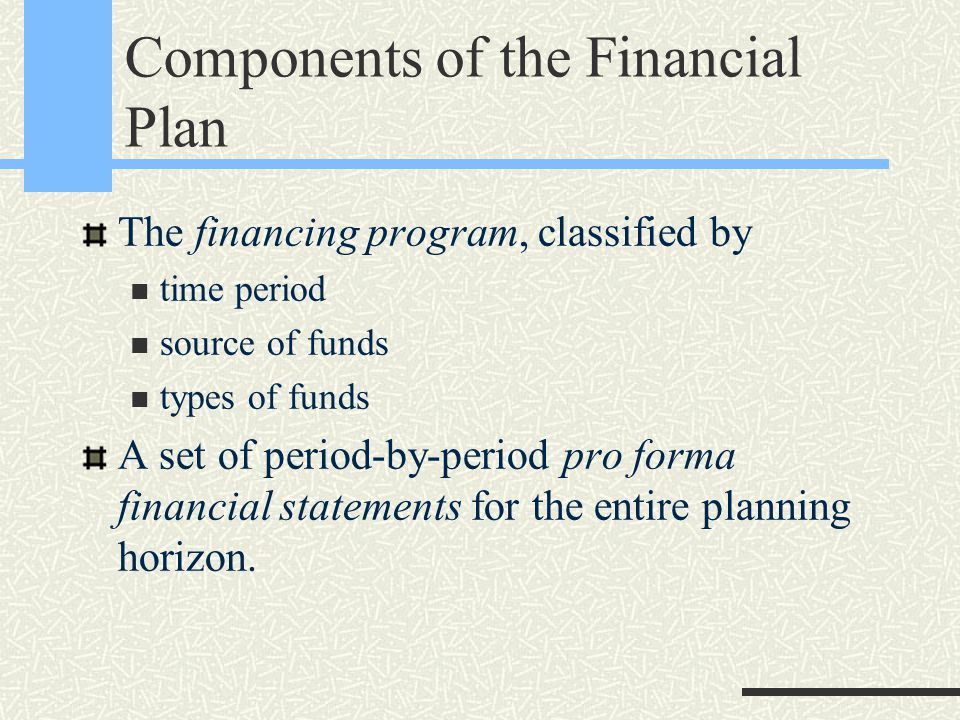 Components of the Financial Plan The financing program, classified by time period source of funds types of funds A set of period-by-period pro forma f