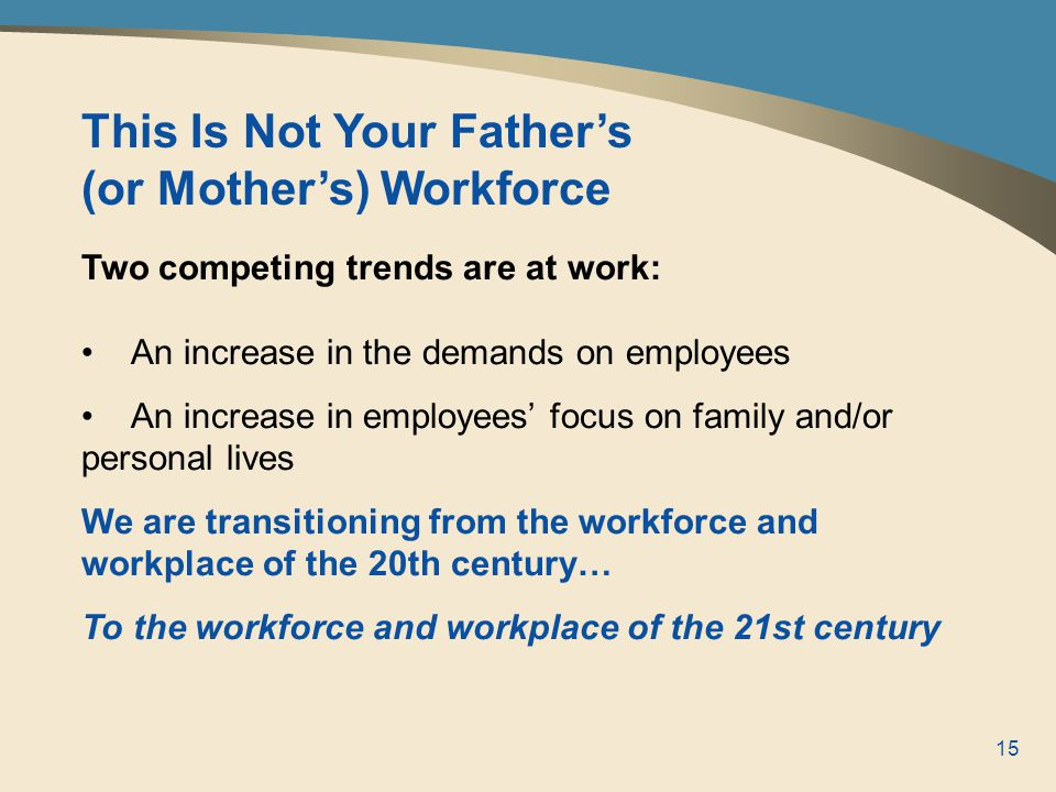 15 This Is Not Your Father's (or Mother's) Workforce Two competing trends are at work: An increase in the demands on employees An increase in employees' focus on family and/or personal lives We are transitioning from the workforce and workplace of the 20th century… To the workforce and workplace of the 21st century
