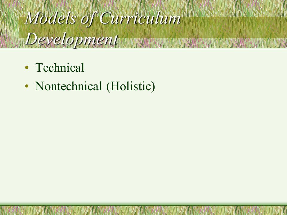Developing a Curriculum Curriculum Content Curriculum Experiences