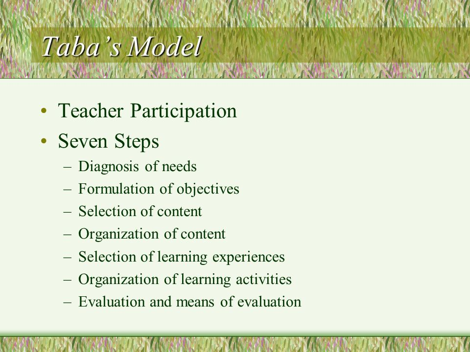Hunkins' Decision-Making Model Curriculum conceptualization and legitimization Diagnosis Content selection Experience selection Implementation Evaluation Maintenance