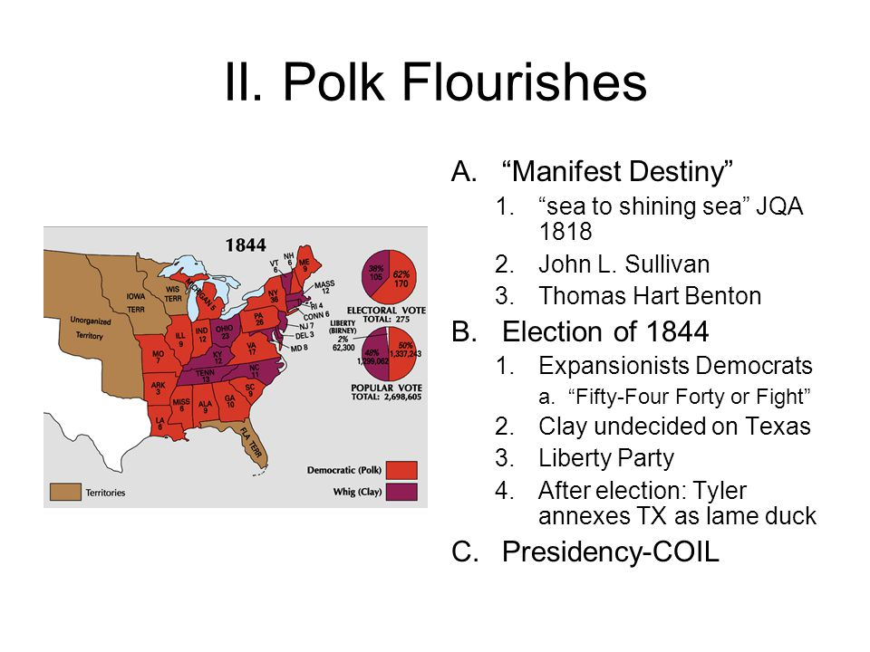 II.Polk Flourishes A. Manifest Destiny 1. sea to shining sea JQA 1818 2.John L.