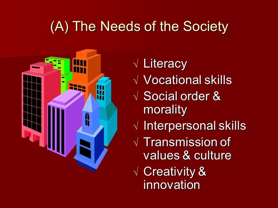 (A) The Needs of the Society  Literacy  Vocational skills  Social order & morality  Interpersonal skills  Transmission of values & culture  Crea